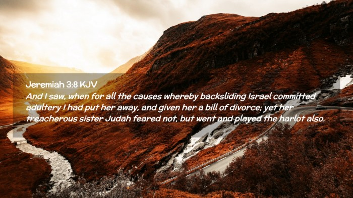 Picture 02 - Jeremiah 3:8 KJV Desktop Wallpaper - And I saw, when for all the causes whereby - Desktop Bible Verse Wallpaper