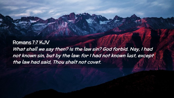 Picture 02 - Romans 7:7 KJV Desktop Wallpaper - What shall we say then? Is the law sin? God - Desktop Bible Verse Wallpaper