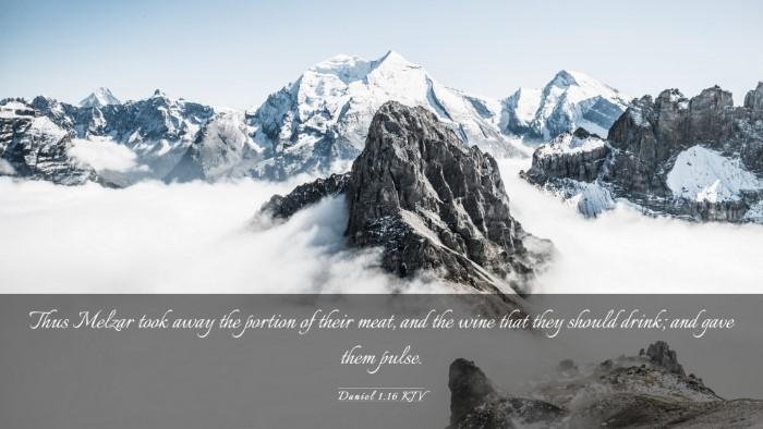 Picture 03 - Daniel 1:16 KJV Desktop Wallpaper - Thus Melzar took away the portion of their meat, - Desktop Bible Verse Wallpaper