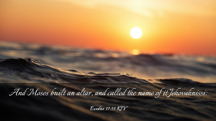 Picture 03 - Exodus 17:15 KJV Desktop Wallpaper - And Moses built an altar, and called the name of - Desktop Bible Verse Wallpaper