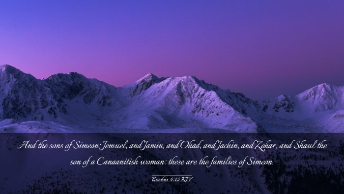 Picture 03 - Exodus 6:15 KJV Desktop Wallpaper - And the sons of Simeon; Jemuel, and Jamin, and - Desktop Bible Verse Wallpaper