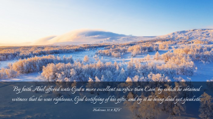 Picture 03 - Hebrews 11:4 KJV Desktop Wallpaper - By faith Abel offered unto God a more excellent - Desktop Bible Verse Wallpaper