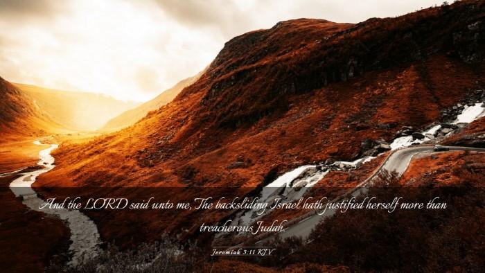 Picture 03 - Jeremiah 3:11 KJV Desktop Wallpaper - And the LORD said unto me, The backsliding Israel - Desktop Bible Verse Wallpaper