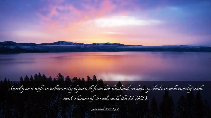 Picture 03 - Jeremiah 3:20 KJV Desktop Wallpaper - Surely as a wife treacherously departeth from her - Desktop Bible Verse Wallpaper