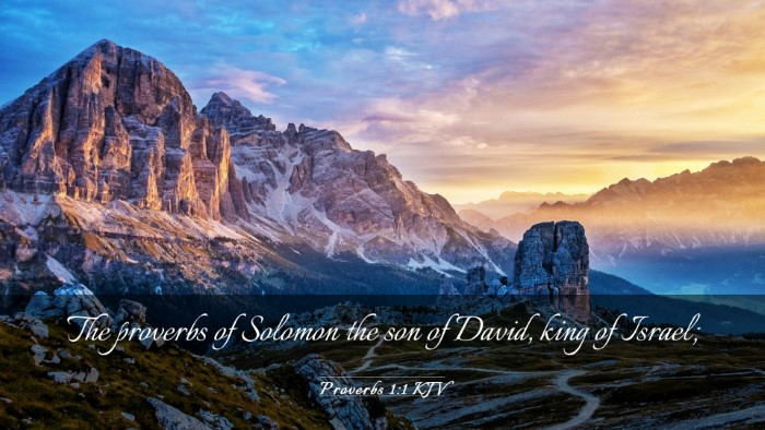 Picture 03 - Proverbs 1:1 KJV Desktop Wallpaper - The proverbs of Solomon the son of David, king of - Desktop Bible Verse Wallpaper