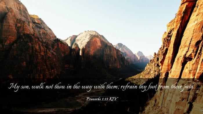 Picture 03 - Proverbs 1:15 KJV Desktop Wallpaper - My son, walk not thou in the way with them; - Desktop Bible Verse Wallpaper