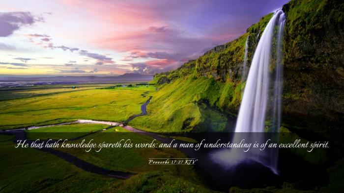 Picture 03 - Proverbs 17:27 KJV Desktop Wallpaper - He that hath knowledge spareth his words: and a - Desktop Bible Verse Wallpaper
