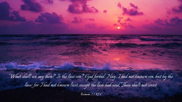 Picture 03 - Romans 7:7 KJV Desktop Wallpaper - What shall we say then? Is the law sin? God - Desktop Bible Verse Wallpaper