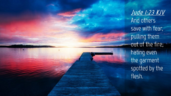 Picture 04 - Jude 1:23 KJV Desktop Wallpaper - And others save with fear, pulling them out of - Desktop Bible Verse Wallpaper