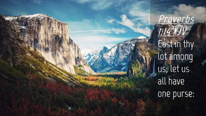 Picture 04 - Proverbs 1:14 KJV Desktop Wallpaper - Cast in thy lot among us; let us all have one - Desktop Bible Verse Wallpaper