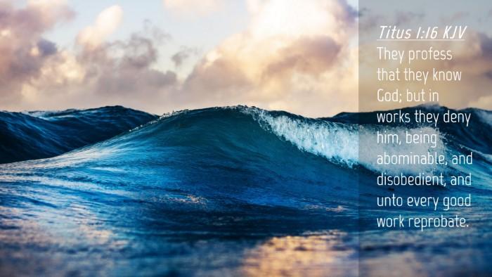 Picture 04 - Titus 1:16 KJV Desktop Wallpaper - They profess that they know God; but in works - Desktop Bible Verse Wallpaper