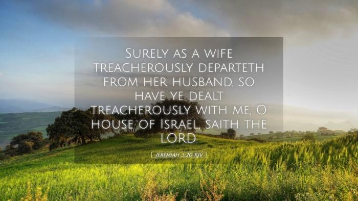Picture 05 - Jeremiah 3:20 KJV Desktop Wallpaper - Surely as a wife treacherously departeth from her - Desktop Bible Verse Wallpaper