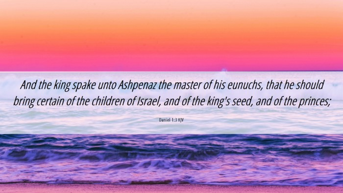 Picture 06 - Daniel 1:3 KJV Desktop Wallpaper - And the king spake unto Ashpenaz the master of - Desktop Bible Verse Wallpaper