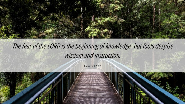 Picture 06 - Proverbs 1:7 KJV Desktop Wallpaper - The fear of the LORD is the beginning of - Desktop Bible Verse Wallpaper