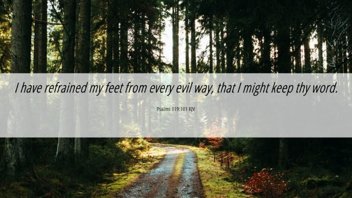 Picture 06 - Psalms 119:101 KJV Desktop Wallpaper - I have refrained my feet from every evil way, - Desktop Bible Verse Wallpaper