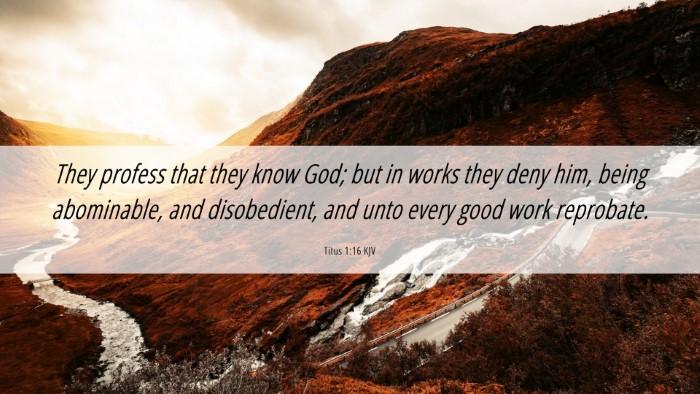 Picture 06 - Titus 1:16 KJV Desktop Wallpaper - They profess that they know God; but in works - Desktop Bible Verse Wallpaper