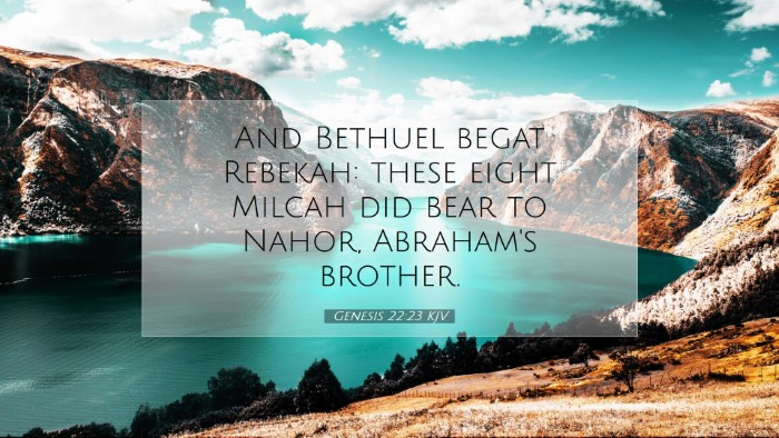 Picture 07 - Genesis 22:23 KJV Desktop Wallpaper - And Bethuel begat Rebekah: these eight Milcah did - Desktop Bible Verse Wallpaper