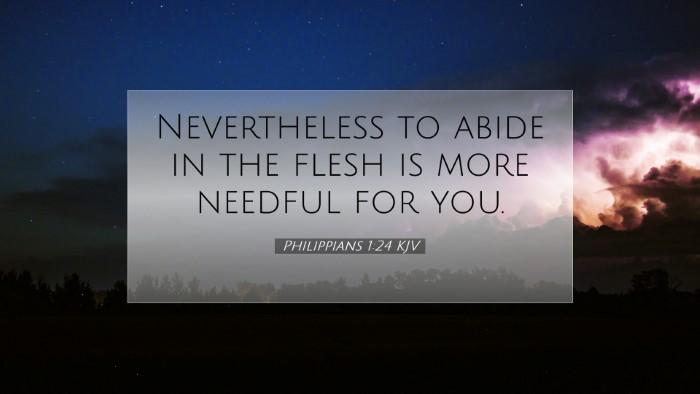 Picture 07 - Philippians 1:24 KJV Desktop Wallpaper - Nevertheless to abide in the flesh is more - Desktop Bible Verse Wallpaper