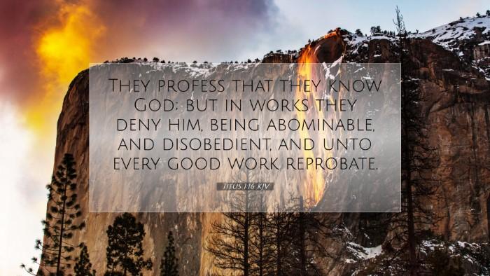 Picture 07 - Titus 1:16 KJV Desktop Wallpaper - They profess that they know God; but in works - Desktop Bible Verse Wallpaper