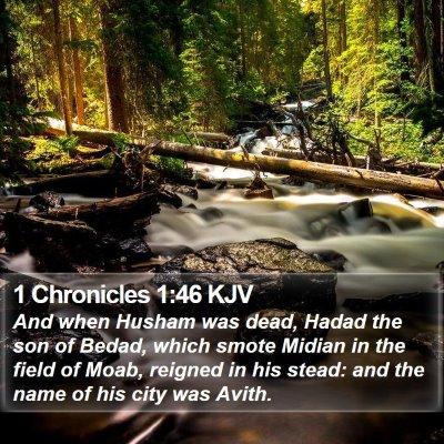 1 Chronicles 1:46 KJV Bible Verse Image