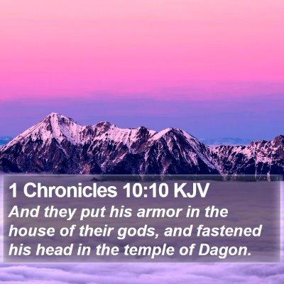 1 Chronicles 10:10 KJV Bible Verse Image