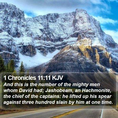 1 Chronicles 11:11 KJV Bible Verse Image