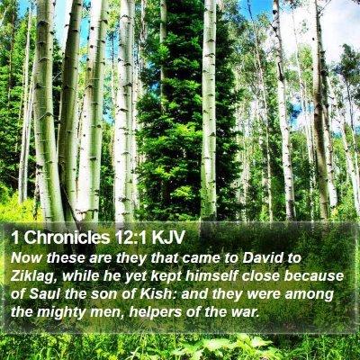 1 Chronicles 12:1 KJV Bible Verse Image