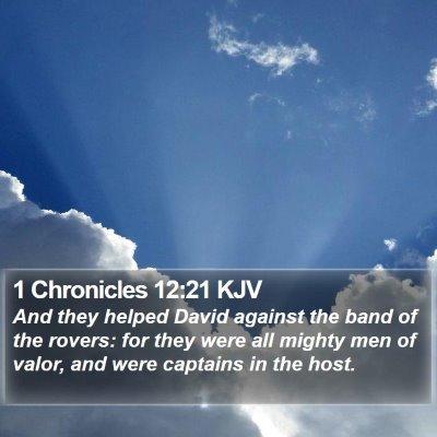 1 Chronicles 12:21 KJV Bible Verse Image