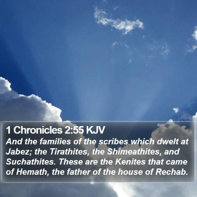 1 Chronicles 2:55 KJV Bible Verse Image