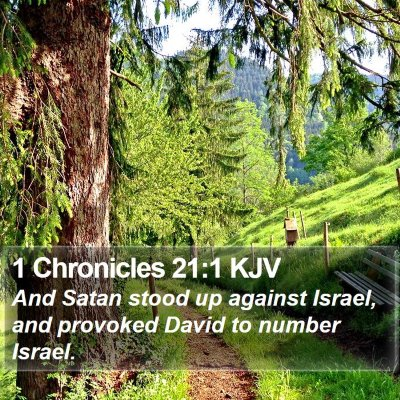 1 Chronicles 21:1 KJV Bible Verse Image