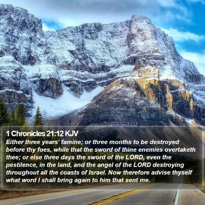 1 Chronicles 21:12 KJV Bible Verse Image