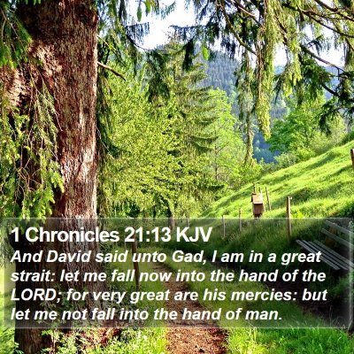 1 Chronicles 21:13 KJV Bible Verse Image