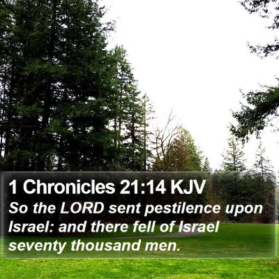 1 Chronicles 21:14 KJV Bible Verse Image
