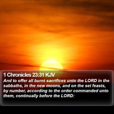 1 Chronicles 23:31 KJV Bible Verse Image