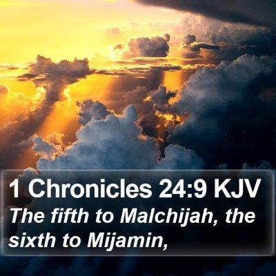 1 Chronicles 24:9 KJV Bible Verse Image