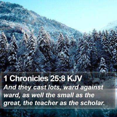 1 Chronicles 25:8 KJV Bible Verse Image