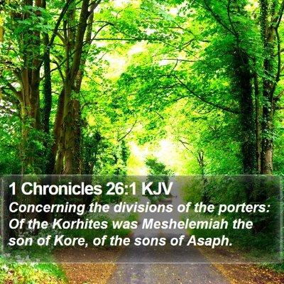 1 Chronicles 26:1 KJV Bible Verse Image