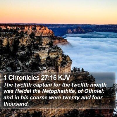1 Chronicles 27:15 KJV Bible Verse Image