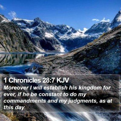 1 Chronicles 28:7 KJV Bible Verse Image