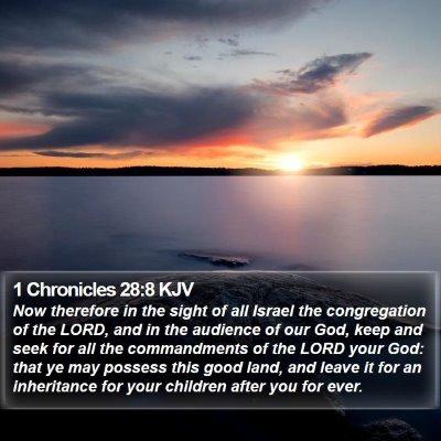 1 Chronicles 28:8 KJV Bible Verse Image