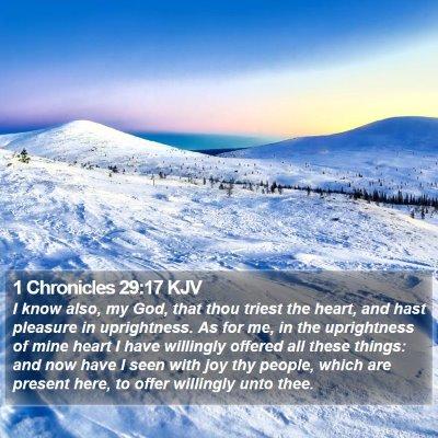 1 Chronicles 29:17 KJV Bible Verse Image