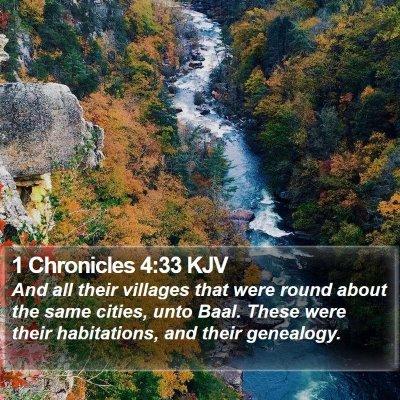 1 Chronicles 4:33 KJV Bible Verse Image