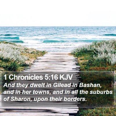 1 Chronicles 5:16 KJV Bible Verse Image