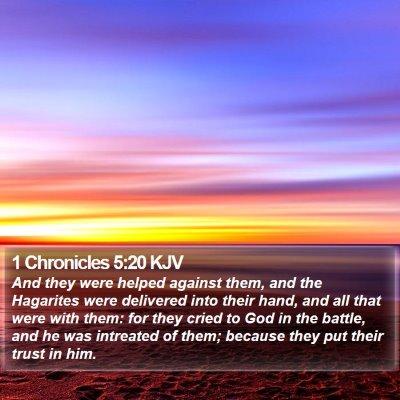 1 Chronicles 5:20 KJV Bible Verse Image