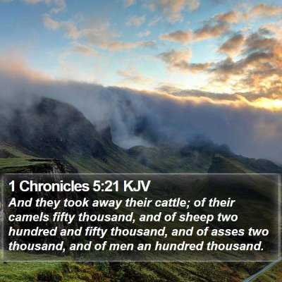 1 Chronicles 5:21 KJV Bible Verse Image