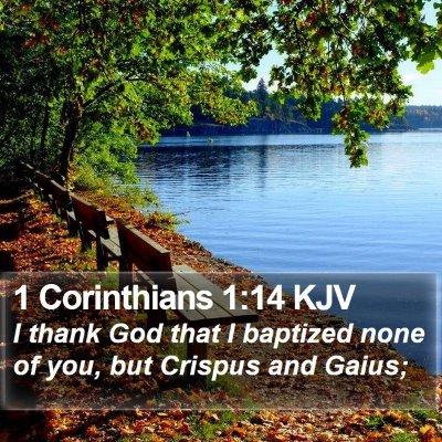 1 Corinthians 1:14 KJV Bible Verse Image