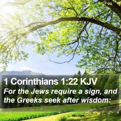 1 Corinthians 1:22 KJV Bible Verse Image