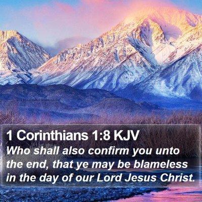 1 Corinthians 1:8 KJV Bible Verse Image