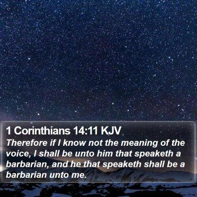 1 Corinthians 14:11 KJV Bible Verse Image