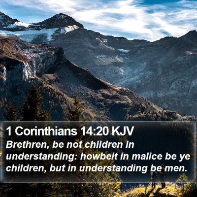 1 Corinthians 14:20 KJV Bible Verse Image